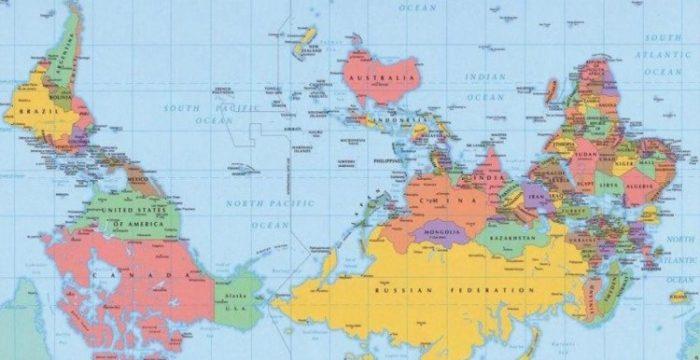 O mapa-múndi poderia estar de cabeça para baixo?